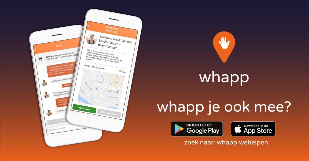 Whapp maakt het makkelijk om elkaar in de buurt te helpen, zeker nu.